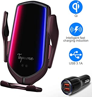 Wireless Charger Car Touch Sensing Automatic Retractable Clip Fast Charging Compatible for iPhone Xs Max/XR/X/8/8Plus Samsung S9/S8/Note 8 (Twilight)