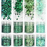 COKOHAPPY 8 Boxes 10ml Holographic Mermaid Dreams Green Chunky Glitter St. Patrick's Day Sequins Iridescent Flakes Hexagon Tips Mixed Paillette Face Eyes Body Hair Nail Art