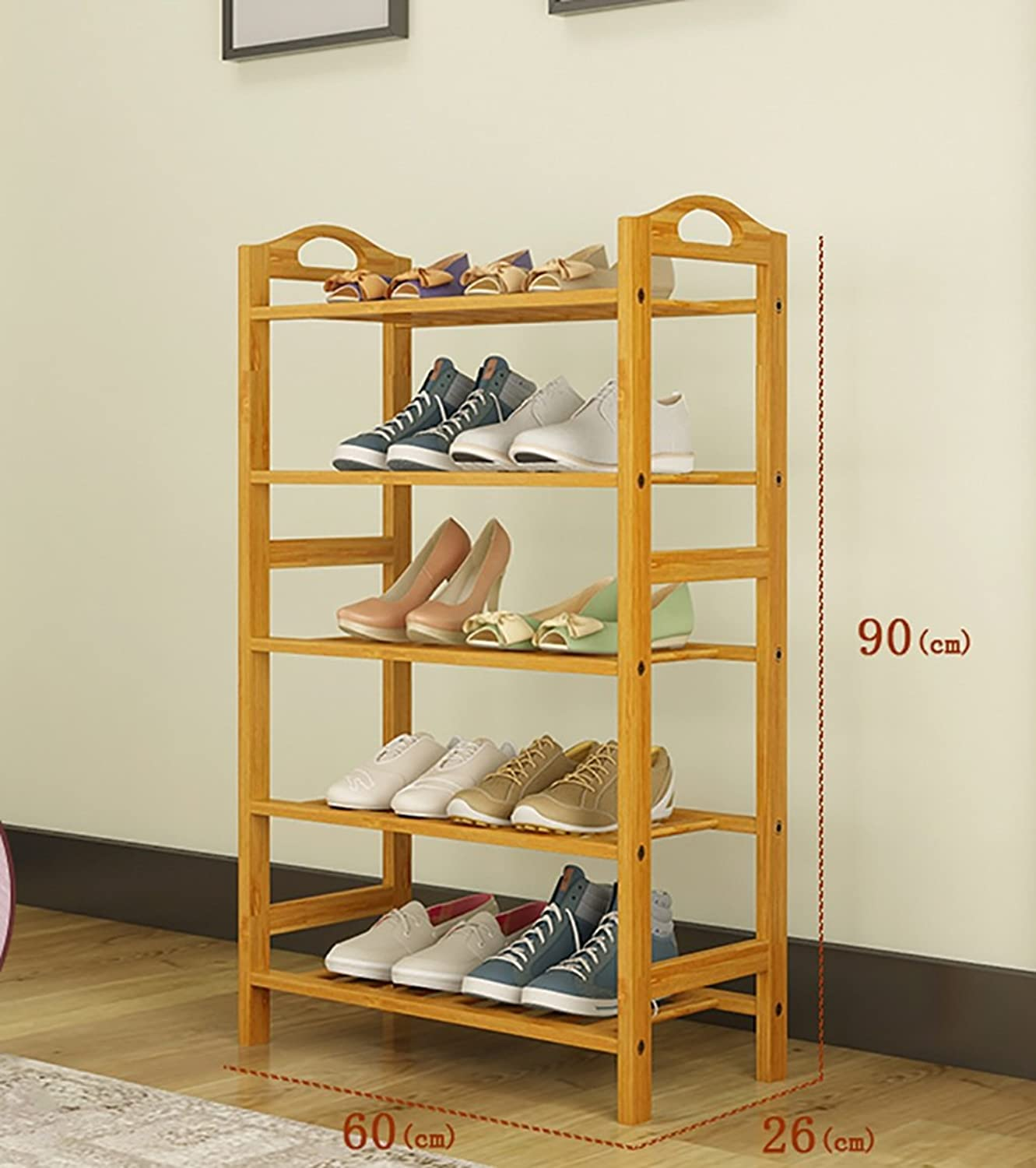 shoes Bench Organizing Rack Natural Bamboo shoes Rack Five-Layer Unit Shelf Simple Storage shoes Rack (Size   60  26  90cm)