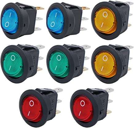 Twidec//8Pcs SPST Round Dot Rocker Toggle Switch Control For Car Or Boat 20A 12V DC On//Off 4 colors LED Light with Pre-soldered Wires KCD2-102N-4C-X