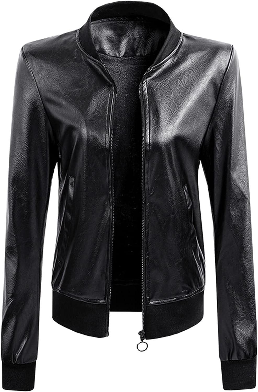 GOODTRADE8 Winter Coats for Women, Women's O-Neck Motorcycle Jacket Leather Fashion Casual Slim Short Jacket Coat