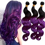 Ruma Hair Ombre Hair Extensions Two Tone Colored 1B/Purple Ombre Body Wave Virgin Brazilian Wavy Human Hair Weave Weft 3 Bundles Lot (20''22''24'')