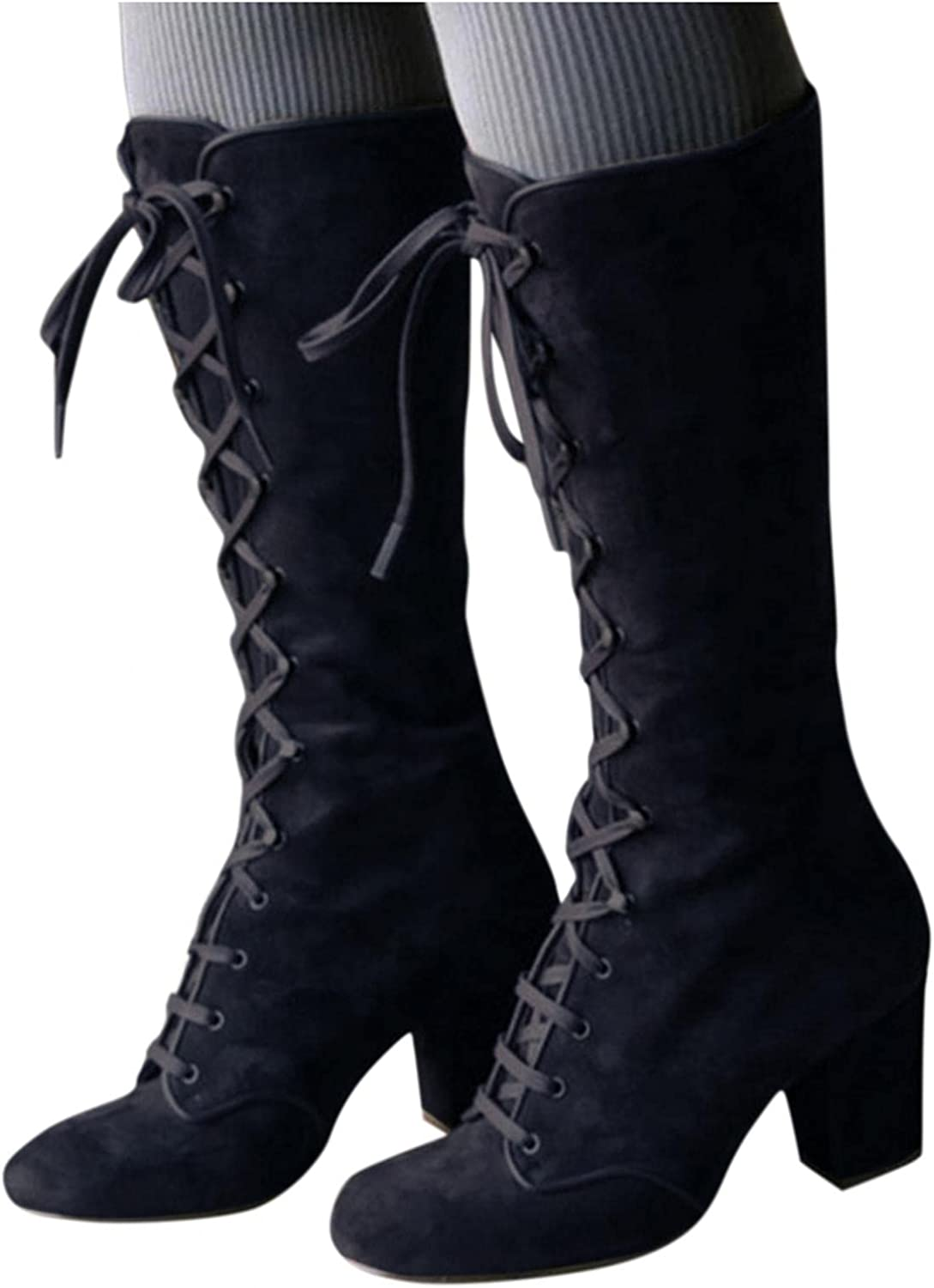 Cowboy Boots for Women,Womens Mid-Calf Boots Retro Lace-Up Booties Midi Block Heels Round Toe Outdoor Wedge Roman Shoes