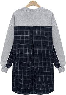 Honghu Casual Manga Larga Cuello Redondo Sudadera para Mujer Ocio Largo Sweatshirts