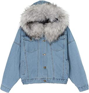 Opinionated Women's Winter Hooded Fur Collar Thick Denim Jacket Outerwear Coat with Furry Fur Trim Hoodies