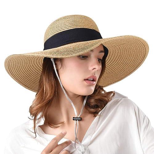 Womens Sun Straw Hat Wide Brim UPF 50 Summer Hat Foldable Roll up Floppy  Beach Hats b64c73ceadd8