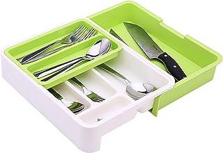 Zuzer Couvert Organisateur en Plastique,Bac à Couverts Tiroir Cuisine Range Couvert avec 7 Compartiments