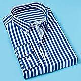 Camicie Uomo,Camicia Classica A Righe Tasca Sul Petto Maschile Strisce Verticali Uomo Autunno Manica Lunga Formale Blu Camicia Da Lavoro Da Uomo Oversize Camicia Da Viaggio Per Il Tempo Libero, 3Xl