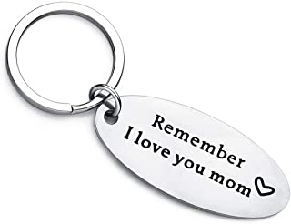 Mother's Day Gift, Remember I Love You Mom, Stainless Steel Keychain Gift for Mother Thanksgiveing Christmas Birthday
