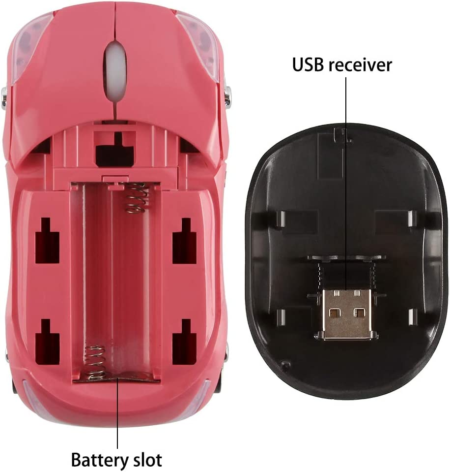 SUN RAIN Car Wireless Mouse, Cool 3D Sport Car Shaped Wireless Optical Mouse 2.4GHz 1600 DPI Mini Portable Novelty Cordless Mice for PC Laptop Computer Desktop Mac (Pink)
