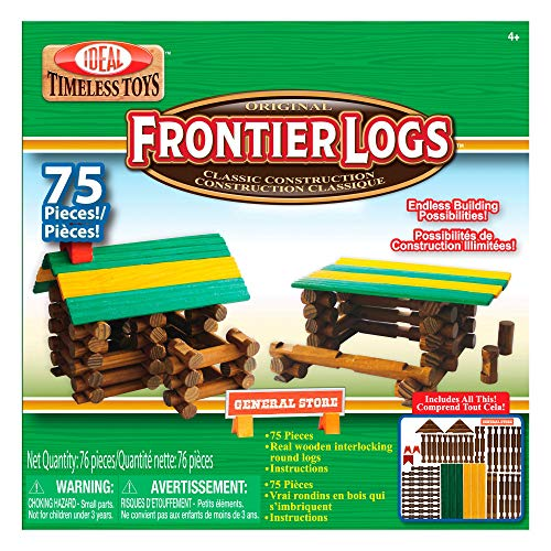 Best Price! Ideal Frontier Logs 75 Piece Classic Wood Construction Set (Renewed)