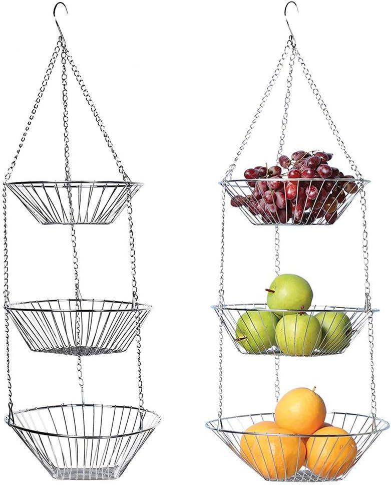 AOZBZ Import 3-Tier Manufacturer OFFicial shop Hanging Fruit Steel Stainless Basket
