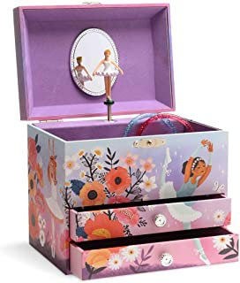 Jewelkeeper Enchanted Ballerina Musical Jewelry Box with 2 Pullout Drawers, Swan Lake Tune