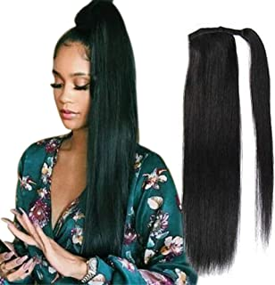 "80g Long Straight Wrap around Ponytail Extensions Clip in Ponytail Hair Extensions Hairpiece for Black Women By Remeehi 16"" 14#"