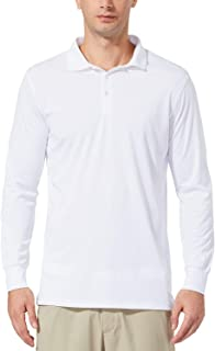 BALEAF Men's UPF 50+ Golf Polo Shirt Performance Quick Dry Golf Solid Polo Active Workout Shirt