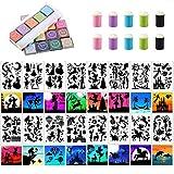 Set di modelli di stencil per pittura EasyLife, inclusi 16 stencil per pittura vuota, 20 pezzi di tamponi per timbri colorati, 10 strumenti per disegnare le dita