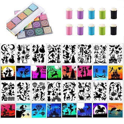 Juego de plantillas de pintura EasyLife, que incluye 16 plantillas de pintura huecas, 20 almohadillas para sellos de colores, 10 herramientas para dibujar con los dedos