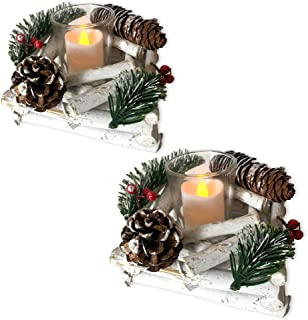 BANBERRY DESIGNS Woodsy Candle Holders - Set of 2 Pine Cone Candle Holders - Red Berry and Whitewashed Driftwood Christmas Decoration