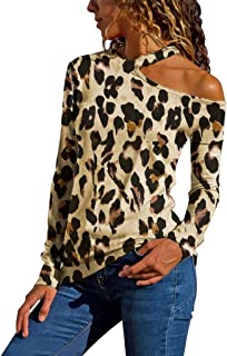 TOTOD Tops Shirts Women's Sexy One Shoulder Cutout Contrast Stitching T-Shirts Leopard Print Short Long Sleeve Pullover