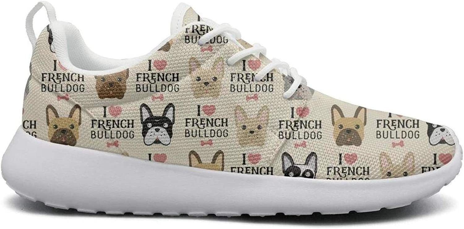 French Bulldog Head Vintage Beige cool Print women's sports Running shoes Casual Lightweight Athletic Sneakers