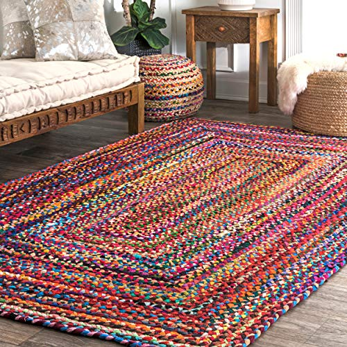 nuLOOM Hand Braided Bohemian Colorful Cotton Area Rug, Multi, 5' x 8'