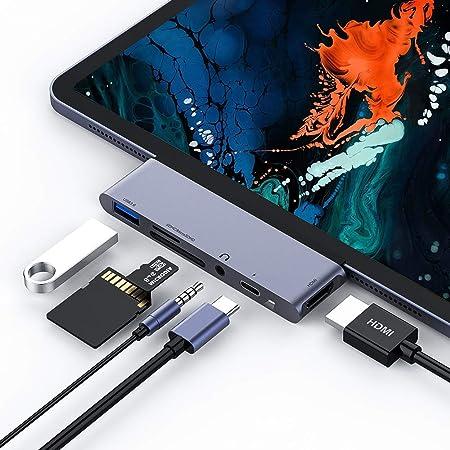 Rayrow Hub USB C, Hub 6 in 1 Tipo C con HDMI 4K, Porta di Ricarica PD, Porta USB 3.0, Lettore di schede SD/TF, Jack Audio da 3,5 mm, convertitore USB di Tipo C Portatile per iPad PRO e Altro (Grigio)