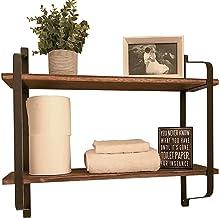 Wisfor Floating Shelves Wall Mounted Rack Display Wood Wall Shelves Rustic Wall Storage Shelf for Bedroom Living Room Kitc...