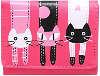 Powerfulline Cute Cartoon Cat Faux Leather Multiple Pockets Girl Card Cash Holder Coin Purse