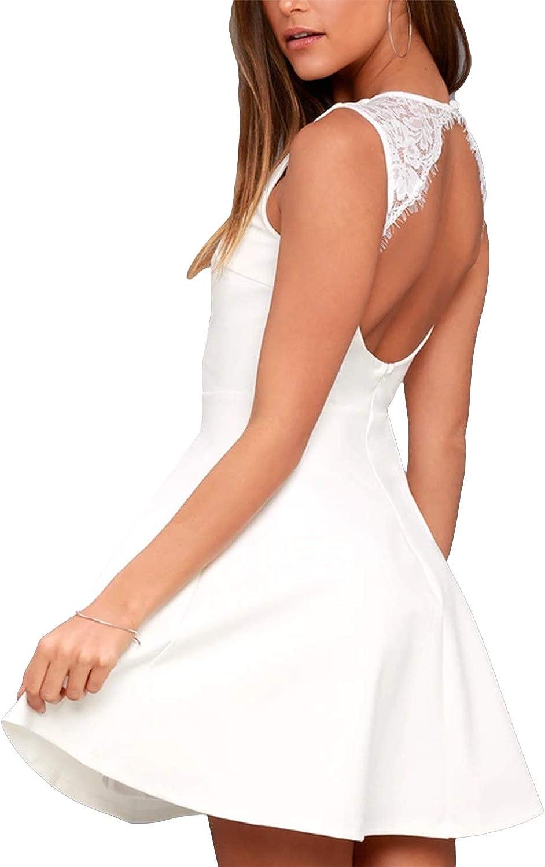 Celmia Women's Cocktail Dresses Lace Backless Wedding Dress Party Cocktail Graduation Mini Dresses