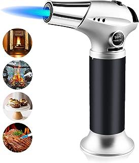 negro gas butano no incluido recargable, con bloqueo de seguridad y llama ajustable para crema, brulee, tostado, barbacoas, soldadura Encendedor de butano para cocina Eidoct