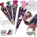 Schultüte, Zuckertüte in 70 cm oder 85 cm, lila weiß kleine Punkte inklusive Papprohling mit vielen Personalisierungsmöglicheiten, als Kuschelkissen weiter nutzbar