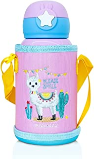 WAICEE My Alpaca Water Bottle with Straw and Outer Bag - Stainless Steel & Vacuum Insulated - 600ml - Pink