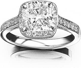 2.25 Ctw 14K White Gold Classic Square Halo Diamond Engaement Ring Cushion Cut (2 Ct G Color VS1 Clarity Center Stone)