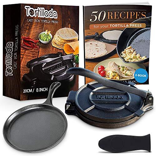 Tortillada - Premium Tortillapresse aus Gusseisen Set inkl. Rezepten als E-Book auf Deutsch (20cm) + Gusseisen Pfanne 26cm