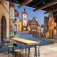 Djskhf ヨーロッパスタイル3Dステレオタウンストリート壁画壁紙リビングルームレストランカフェ背景壁紙装飾3D 100X50Cm