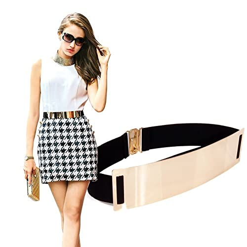 Fashion Elastic Metal Waist Belt Wide Waistband for Female Dress Accessories DI