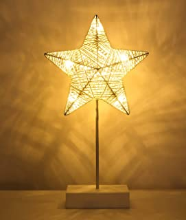 Lewondr Table Lamp, Battery Powered Star Shape Bedside Light Desk Lamp LED Christmas Decorative Lamp Winding Iron Frame Plastic Base Warm White Bright Light Home Bedroom Romantic Decoration - White