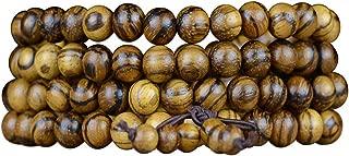 JAJAFOOK 6mm/8mm 108 Agarwood Mala Prayer Rosary Beads Tibetan Buddhist, Natural Fragrant Wood Meditation Stretch Bracelets Necklace