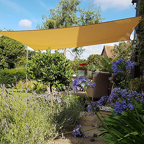 Greenbay Sun Shade Sail Outdoor Garden Patio Yard Party Sunscreen Awning Canopy 98% UV Block Rectangle Sand With Free Rope(3x2m)