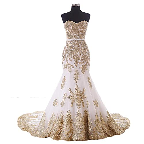 White And Gold Wedding Dress Amazoncom