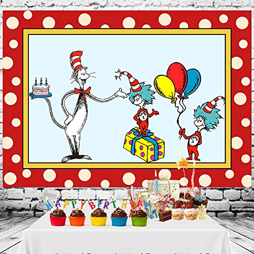 Cartoon Dr. Seuss Cat Hat Theme Photo Background Vinyl Children Boys or Girl 1st Happy Birthday Photography Backdrops Dessert Dr. Seuss Cake Table Decor Supplies Kid Party Banner Studio Props