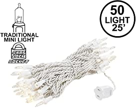 Novelty Lights 50 Light Clear Christmas Wedding Mini String Light Set, White Wire, Indoor/Outdoor UL Listed, 25' Long