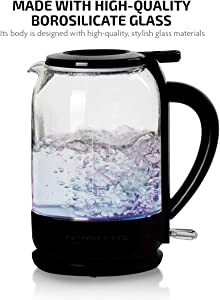 Ovente Electric Glass Hot Water Kettle 1.5 Liter with ProntoFill Technology The Easy Fill Solution, Heat-Tempered Borosilicate Glass, BPA-Free, 1500 Watts Fast Heating Element, Black (KG516B)