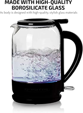 Ovente Electric Hot Water Glass Kettle 1.5 Liter Borosilicate Glass with ProntoFill Technology Easy Fill Solution, Portable 1