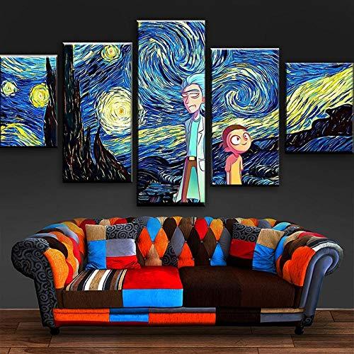 TXFMT Geen Frame Canvas Decoratie Schilderen Handgemaakte DIY Animatie Personages Poster Sterrenbeelden Schilderijen op Canvas Wall Art Klaar om op te hangen voor huis en kantoor Decoratie decor 150*100CM