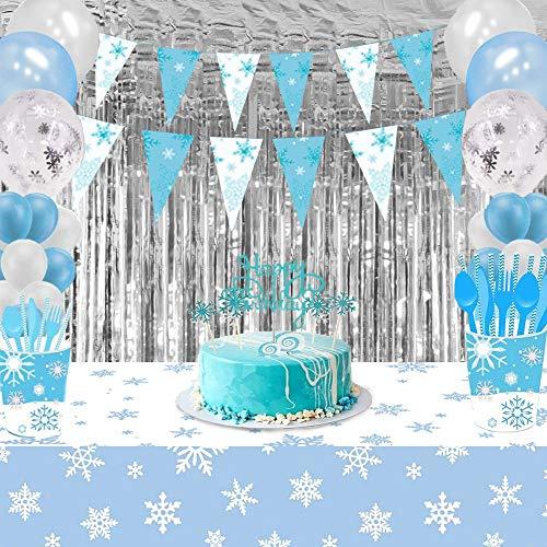 Suministros Fiesta Frozen, Fondo Decoración Cumpleaños Tema Winter Wonderland con Cortina Flecos Plateados, Banderines Copo Nieve y Mantel Copo Nieve para Cumpleaños Niños, Fiesta Bienvenida Al Bebé