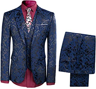 Mens One Button Tailoring Floral 3 Piece Slim Fit Suit