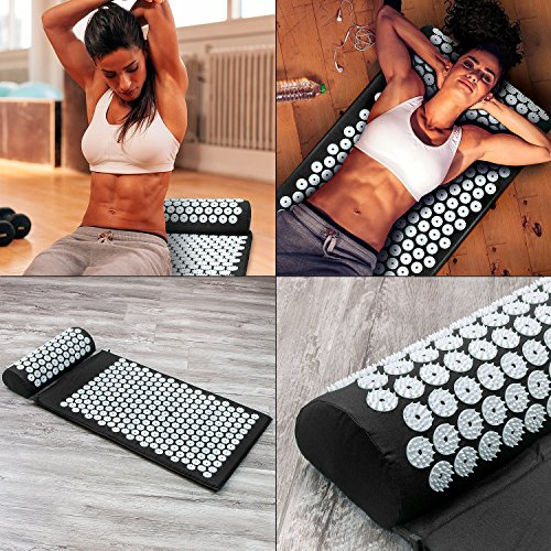 Sivan Back and Neck Pain Relief Acupressure Mat and Pillow Set, Chronic Back Pain Treatment - Relieves Your Stress of Lower Upper Back and Sciatic Pain - Black