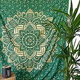MOMOMUS Tapiz Mandala Oro - 100% Algodón, Grande, Multiuso - Pareo/Toalla de Playa Gigante - Alfombra/Manta Antiarena XXL - Verde B ,210x230 cm