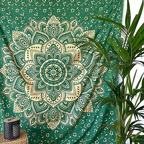 MOMOMUS Tenture Mandala - Or - 100% Coton, XXL, Polyvalent - Grande Serviette/Drap de Plage - Paréo, Natte/Tapis de Plage Anti Sable